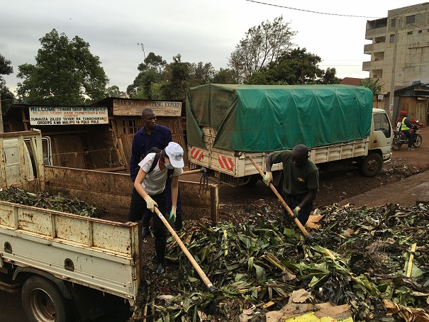 Vegetables waste carried by truks