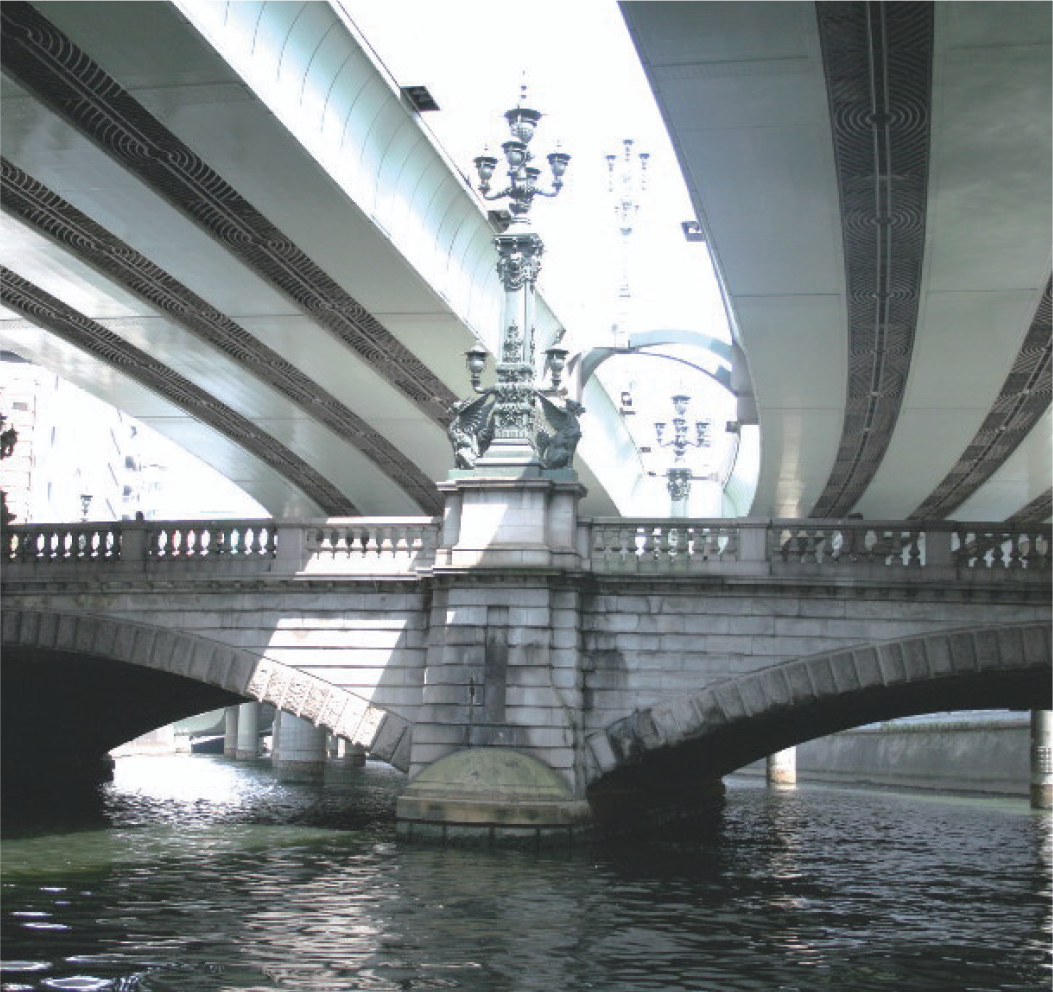 Nihonbashi River and bridge covered by the highway