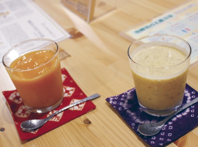 Smoothies made of the EM grown vegetables and fruits from the neighbors'farms