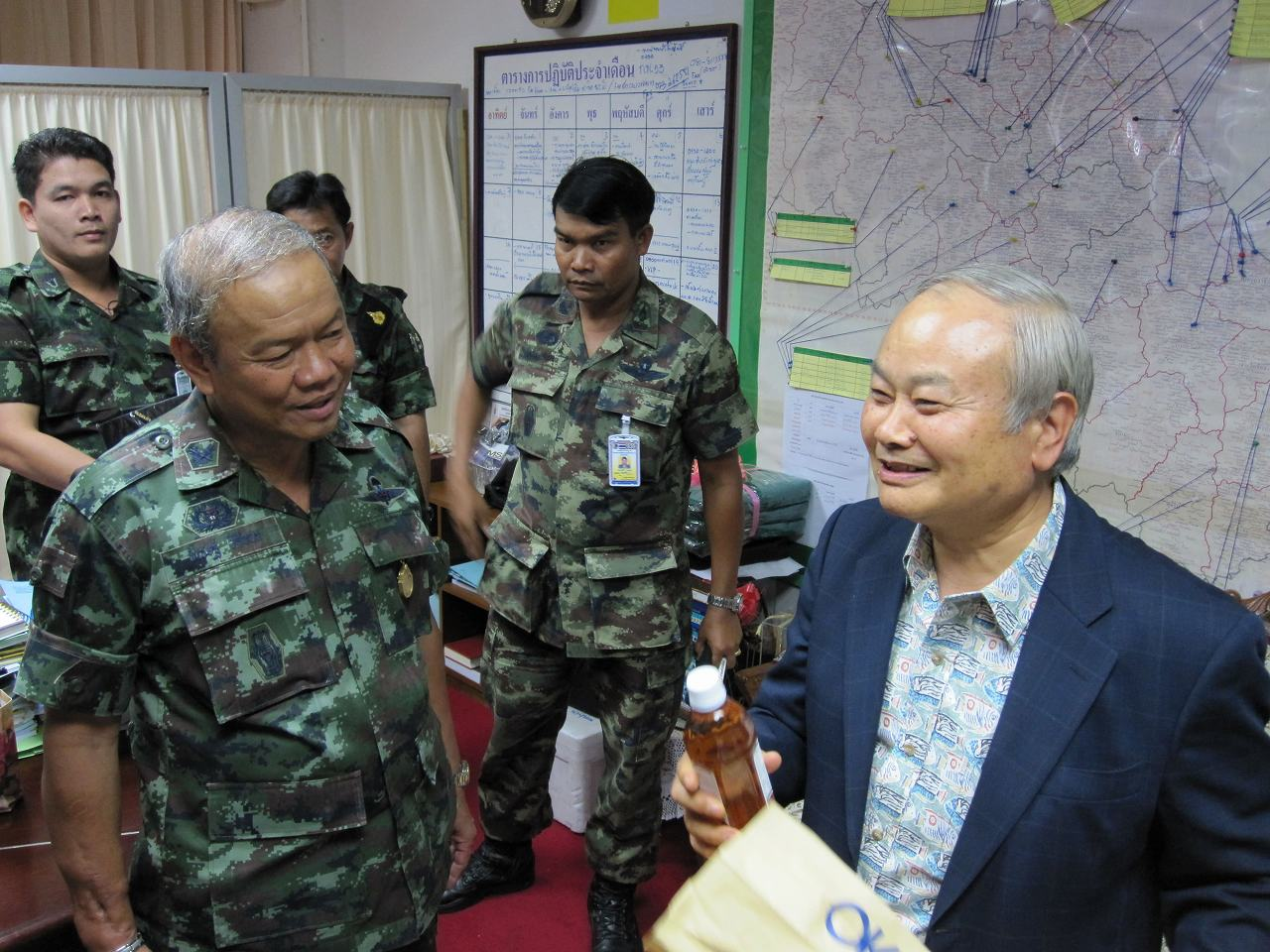 Prof. Higa during his visit to Thailand along with former General Pichate of the Royal Thai Army