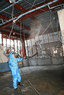 After the tsunami in Kesennuma city and  Mr. Ashikaga spraying Activated Em・1 ®in the fish processing factory