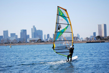 Windsurfing at Odaiba