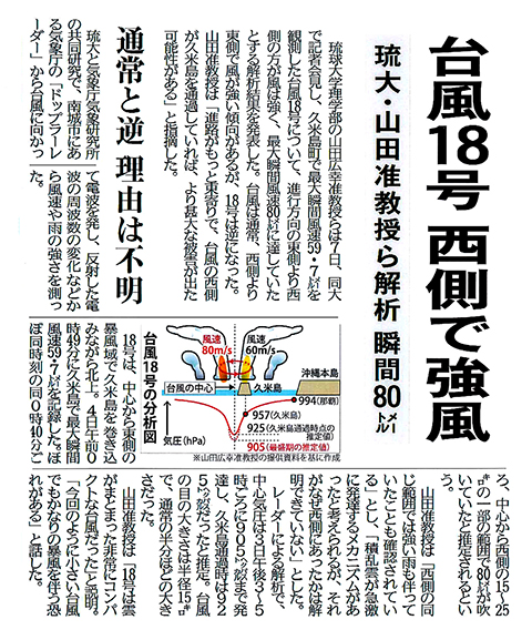 Figure 3:  Okinawa Times October 8, 2016 (provided by Okinawa Times)