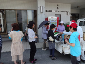 May 15, 2016. Free distribution of activated EM at Shiroyama public hall in the Kawachi district of Kumamoto City