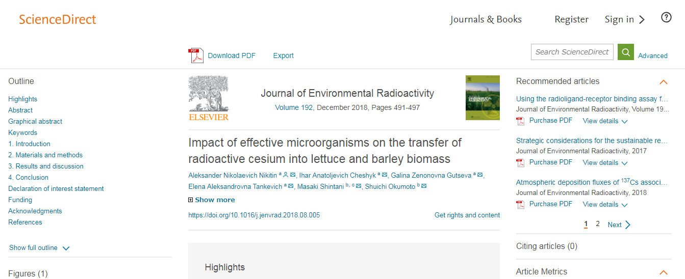 A research paper published in the Journal of Environmental Radioactivity